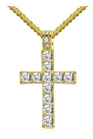 Colar Masculino Pedra Ouro 18 K Corrente Prata Folheado Cruz