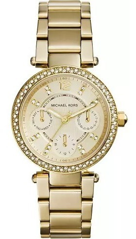 Relógio Michael Kors Mk6056 Feminino Mini Parker Dourado