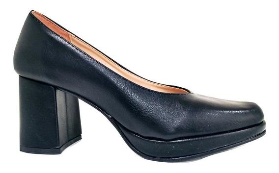 Zapatos Taco Bajo Mujer Stiletto Gamuza Eco Cuero Charol