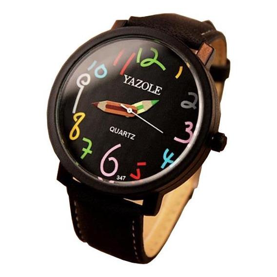 Yazole 347 Moda Couro Cinta Mulheres Quartz Relógio Casual C