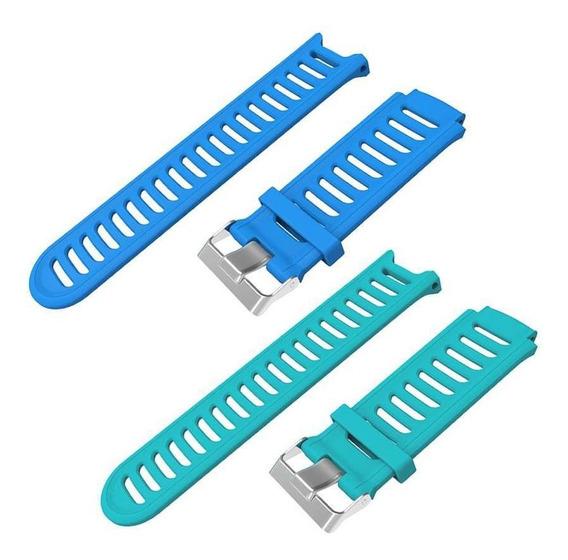 Kit 2 Pulseiras Silicone Azul Celeste Verde Garmin 910xt