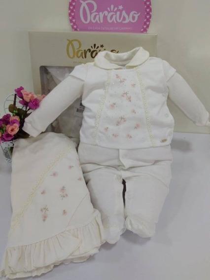 Saida Maternidade Paraiso Moda Bebê Menina Macacão Cod 7410