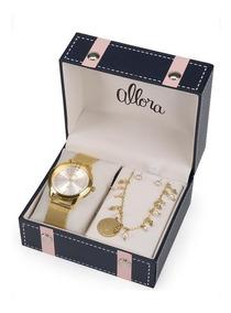 Relógio Allora Kit Feminino Com Semijóia Al2035fmgk4k