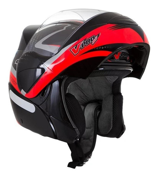 Capacete para moto escamoteável Pro Tork V-Pro Jet 2 Carbon preto, vermelho tamanho 58