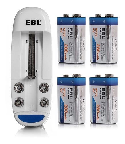 Imagen 1 de 6 de 4 X 9v Ni-mh Batería Recargable + Cargador Para 9 Voltios Aa