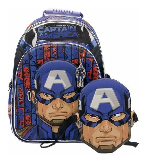 Mochila Capitán América Con Mascara 16 Pulgadas Cresko