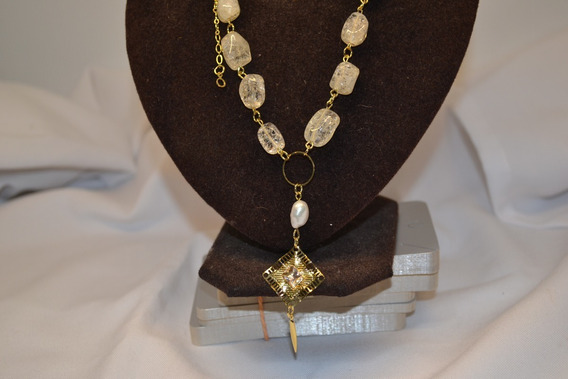 Colar Gargantilha Semi-joia, Pedras Naturais-folheado A Ouro
