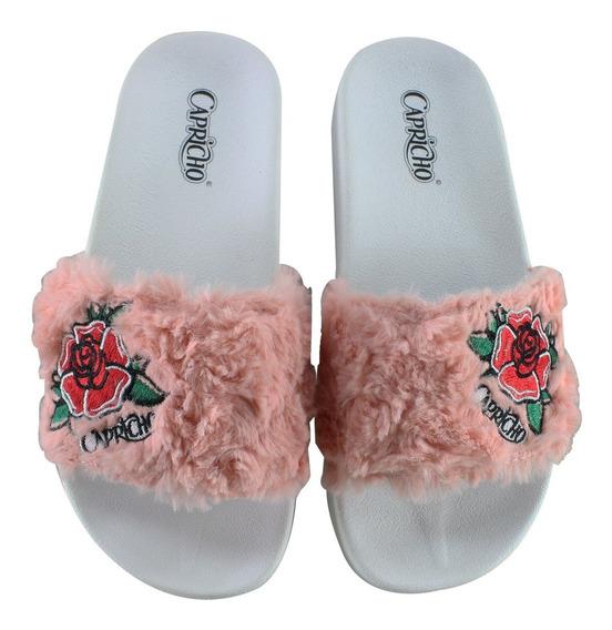 Sandália Slide Capricho Roses Cp3113 | Katy Calçados