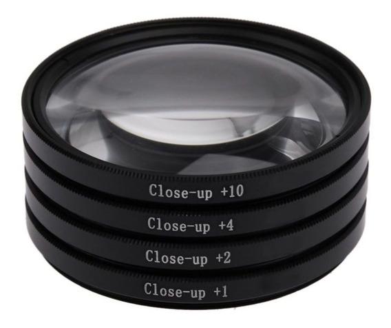 Kit Lente Filtro P/ Macro Fotografia +1 +2 +4 +10 De 72mm