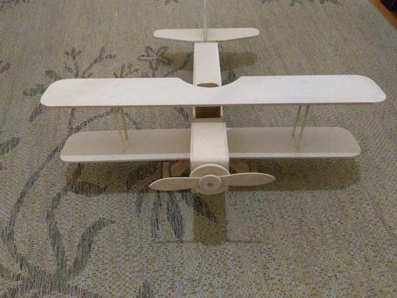 Super Avião Biplano Grande De Madeira Decoração Cod.09
