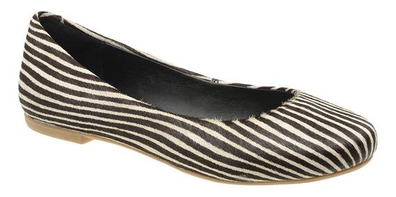 Sapatilha Fem. Animal Print Malbork Em Couro Pelo Zebra 200