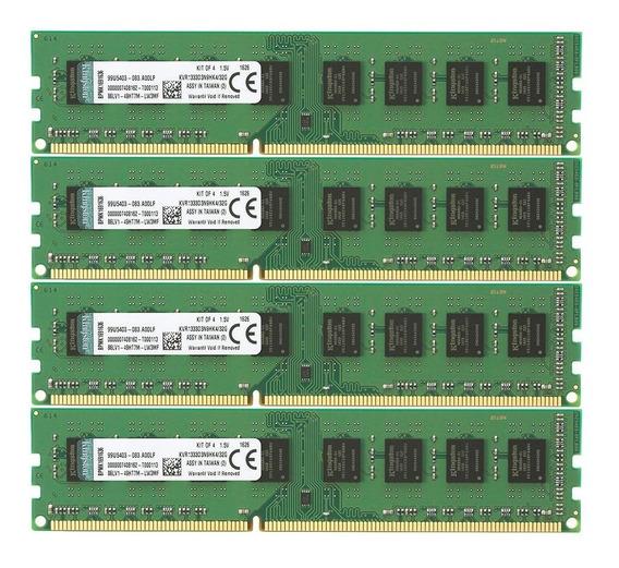 Memoria Ram 32gb Kingston Valueram Kit (4x8gb) 1333mhz Ddr3 Non-ecc Cl9 Dimm Std Height 30mm Kvr1333d3n9hk4/32g