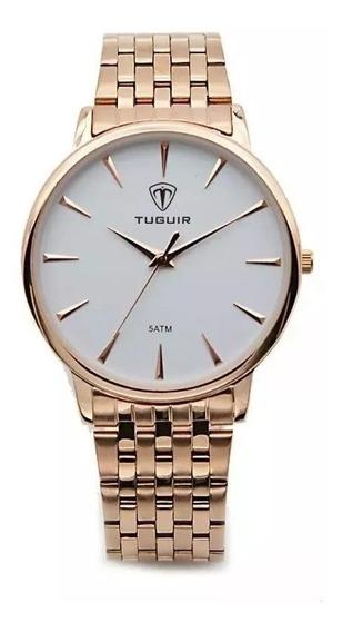 Relógio Feminino Tuguir Analógico 5041 Rose E Branco C/nf