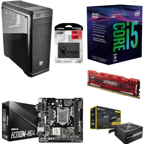 Pc Cougar Intel I5 8400 Mb H310m Hg4 Bl 8gb Vs400 Ssd 120gb