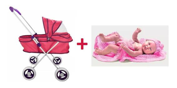 Carrinho Berço De Boneca Reborn + Bebe Anjo Menina Ninos