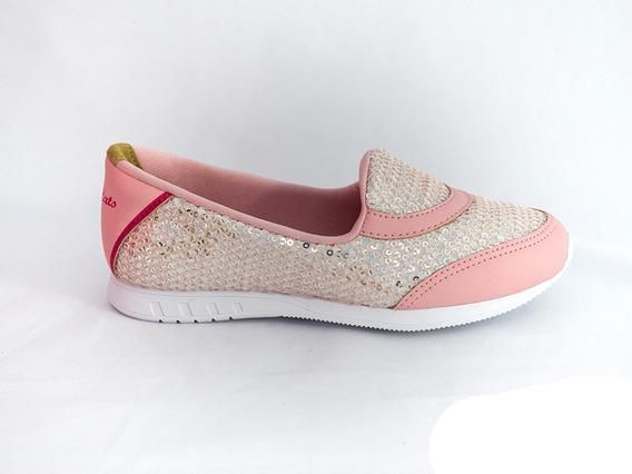Tênis Pink Cats Bergamo W9252a Brilho Rosa Bebê/prata Último