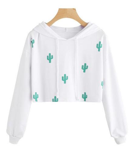 Buzo Buso Saco Hoodies Blanco Mujer Niña Con Capota Cactus
