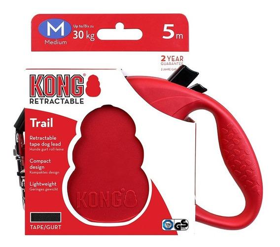 Guia Retrátil Kong Trail Medio Cachorro 30 Kg 5 Metros