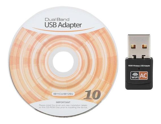 Placa De Rede Sem Fio Dual Band 802.11ac 600m Usb Wifi Adapt