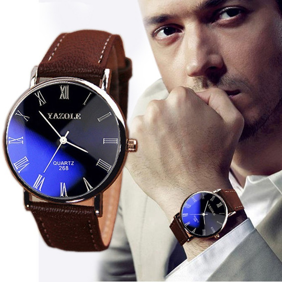 Relógio Importado Masculino Yazole Luxo Barato Social Com Pulseira De Couro + Caixa