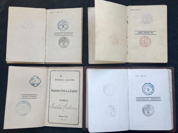 Lote De 4 Libretas Matrimonio Capital Federal 1910/34/52/54