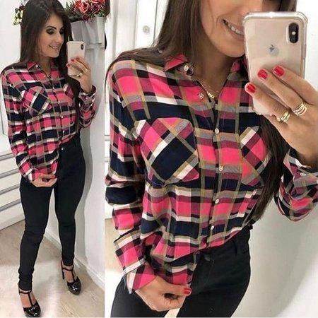 Blusa Xadrez Camiseta Social Feminino Moda Baladinha Top