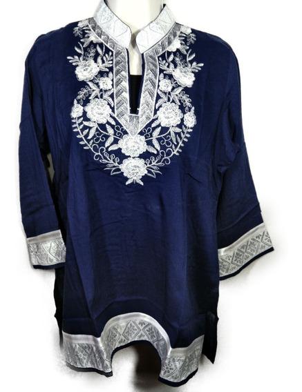 Azul Blusa Paquistni Bordado Y Regalo De Encienso - Mbl04s