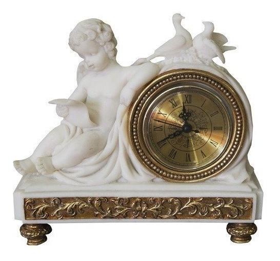 Relógio Design Anjo Em Resina Branca Alta Decoração Lindo