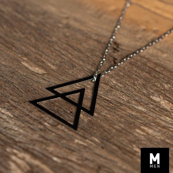 Colar Triângulos Aço Semi Joia Masculina Acessorios Aço Inox