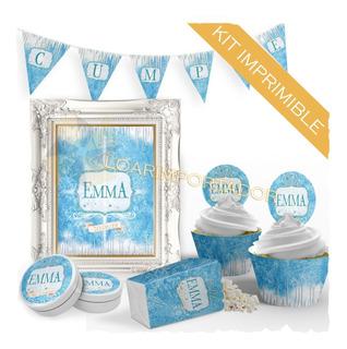 Kit Imprimible Frozen Elsa Princesa Candy Bar Deco Floreros