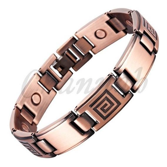 Bracelete Pulseira Em Cobre-pedras E Imas-magnética-pentrega