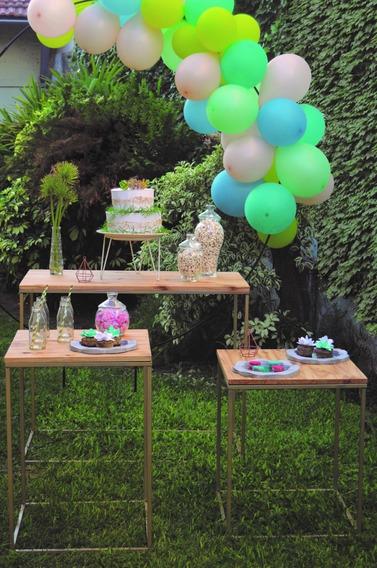 Alquiler 3 Mesas Hierro En Dorado, Mobiliario Evento O Candy