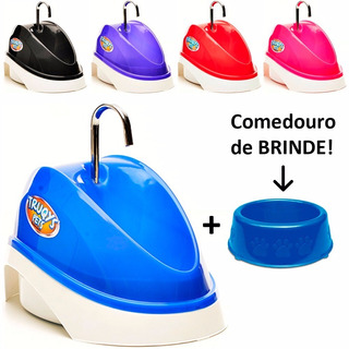 Fonte Bebedouro Gato Cão Automático Agua Corrente+ Comedouro