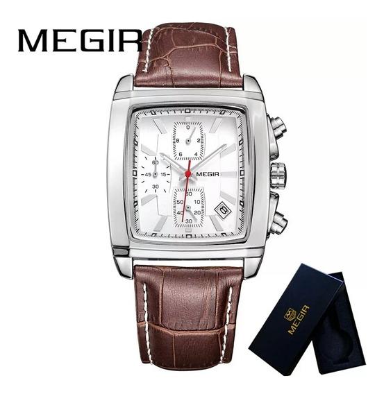 Relógio Megir 2028 Luxo P. De Couro Cronógrafo Promoção