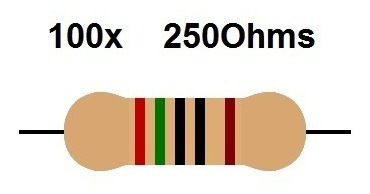 100x Resistor 250 Ohms +/- 1% 1/4w