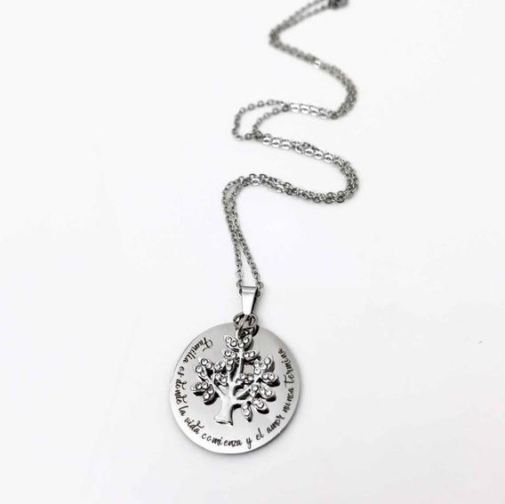 Collar Arból Con Frase Personalizable Y Grabado Por Atrás