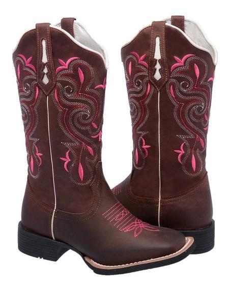 Bota Feminina Texana Hopper Couro Legitimo Bovino Rosa Pink