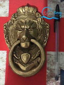 Espetacular Fantástico Batedor De Porta Antigo Lion Polido