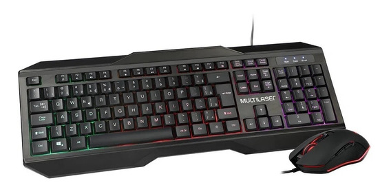 Teclado E Mouse Gamer Multilaser 2400dpi Com Fio Led Tc239