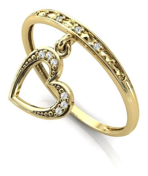 Anel Cravejado Com Pingente Coração Em Ouro 18k Dourado