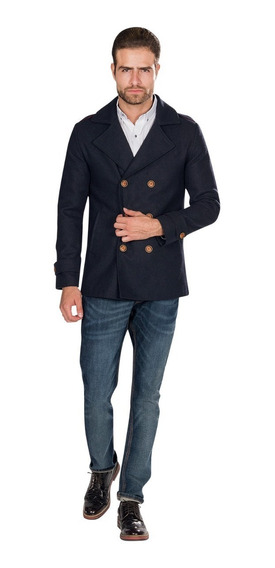 Abrigo Hombre Slim Fit Gris Moda Lana Invierno D85115