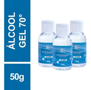 Álcool Gel Antisséptico 70 Inpm Haze 50g Frasco Kit C/ 03un