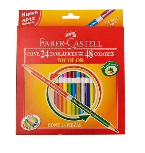 Ecolápiz Bicolor Faber Castell . Caja X 24 (48 Colores)