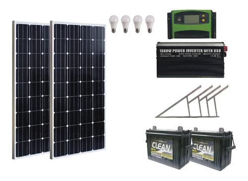 Imagen 1 de 8 de Kit Solar 1500w Completo Con 4 Luces Led E Inversor 1500w