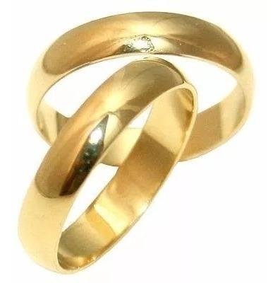 Par Alianças Ouro 18 K 4 Mm 5 Gr Casamento!
