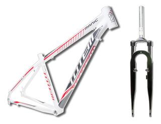 Kit Quadro De Bicicleta 29 Totem Com Garfo Tam 21 Branco Promoção Quadro Totem 29 + Suspensão 29