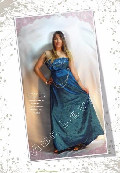 Vestido Largo Seda ,drapeado ,strapless Bordado En Piedras