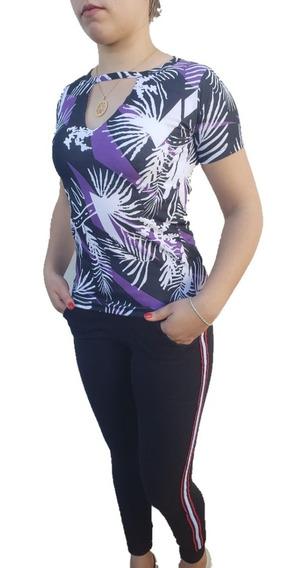 Promoção Blusa Estampada Feminina Modelo Corte V+brinde