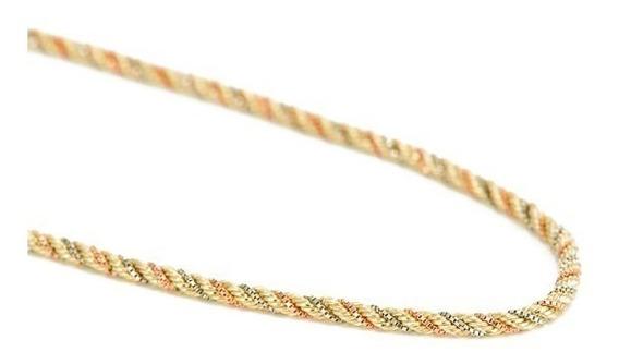 Corrente Cordão Baiano Tricolor 45cm 100% Ouro 18k