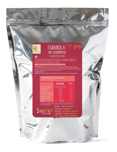 Imagem 1 de 4 de Granola Artesanal De Cranberry - 1 Kg - Made In Natural